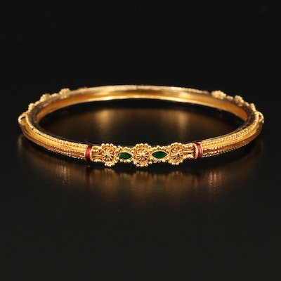 Rajasthani India 18K Enamel Bangle with 22K Granulation Accents