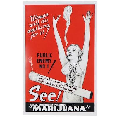 "Propaganda Offset Lithograph Poster ""Public Enemy No.1, Marijuana"""