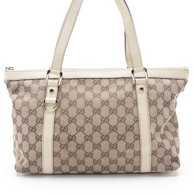 Gucci Abbey Tote Medium in GG Canvas and Ivory Leather