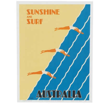 "Travel Offset Lithograph Poster after Gert Sellheim ""Sunshine and Surf"""