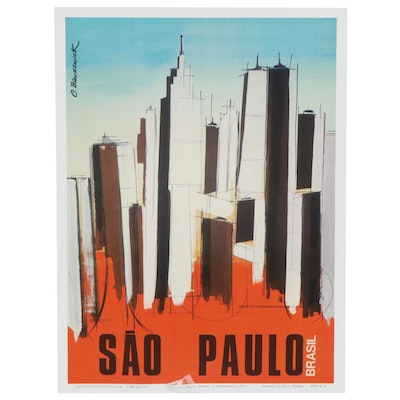 "Travel Offset Lithograph Poster after C. Brunswick ""Sao Paulo, Brasil"""