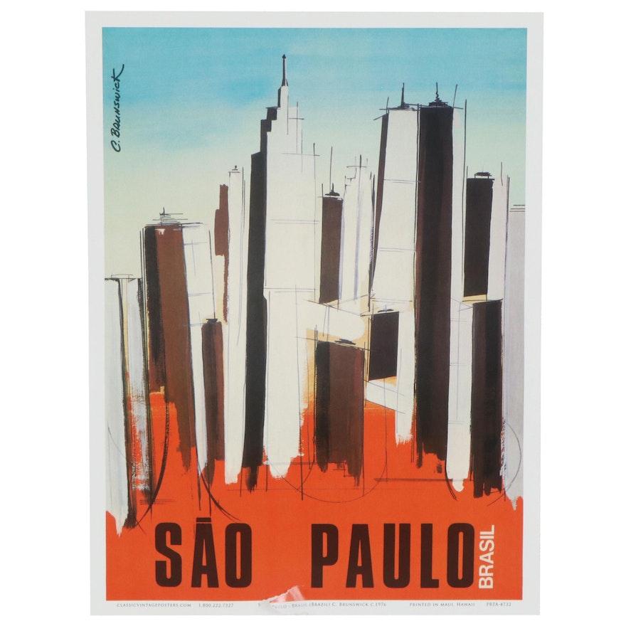 "Travel Offset Lithograph Poster after C. Brunswick ""Sao Paulo, Brasil"""