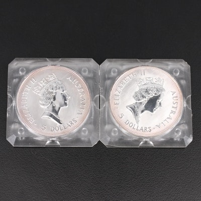 Two 1990 $5 Australia Kookaburra Uncirculated Bullion Coins