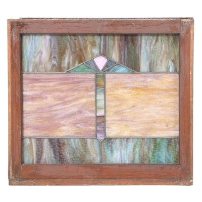 Arts and Crafts Leaded Slag Glass Window
