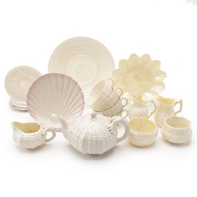 """Belleek Porcelain """"Limpet"""" Tea Service with Other Plates and Bowls"""