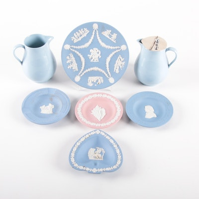 Wedgwood Syrup Pitchers with Lavender and Pink Jasperware