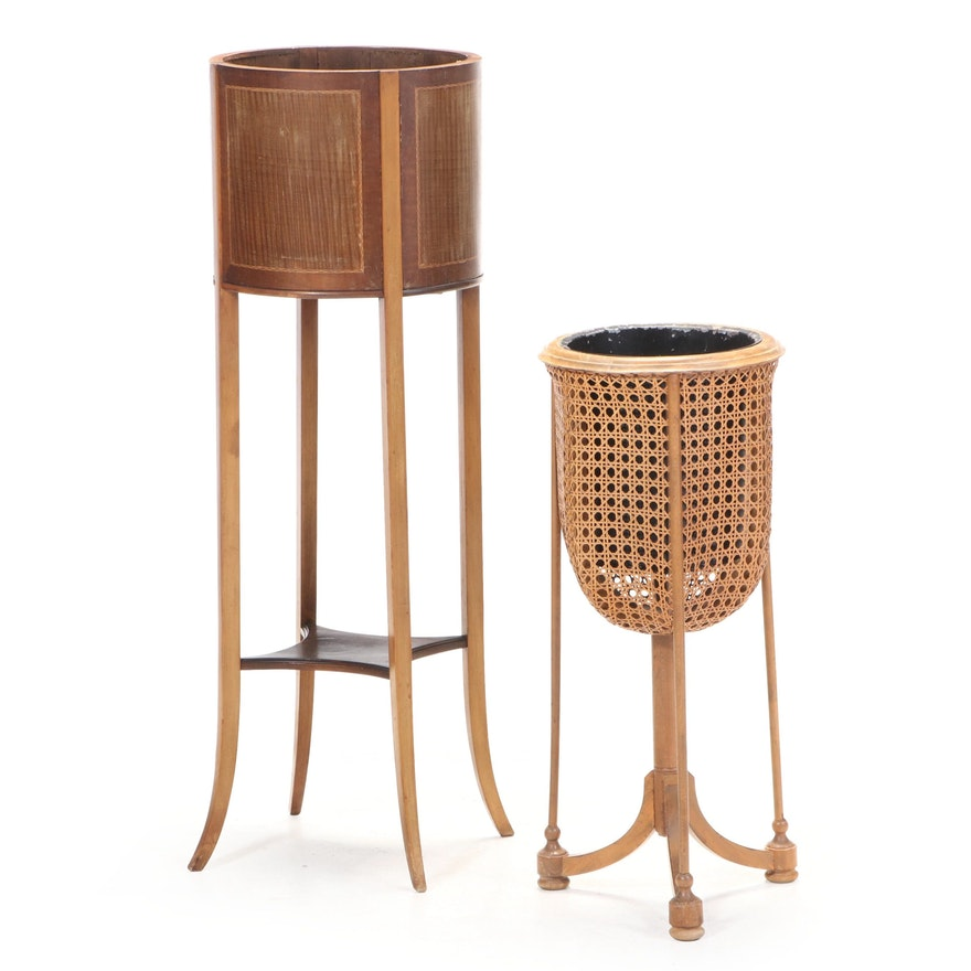 Two Wooden and Caned Fern Stands, Mid-20th Century