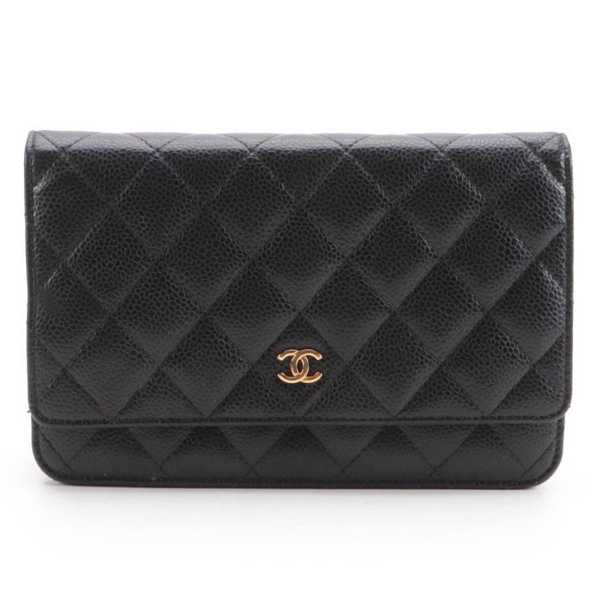 Chanel Black Quilted Caviar Leather Front Flap Crossbody