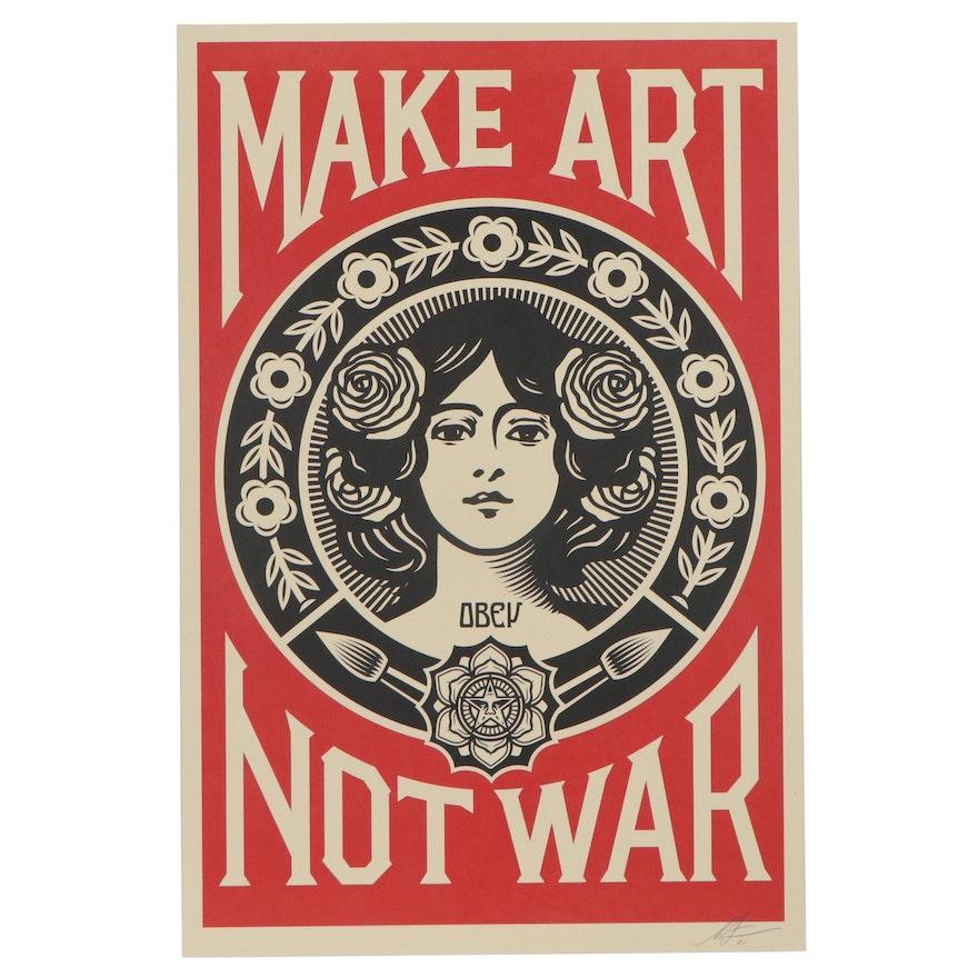 """Shepard Fairey Offset Print """"Make Art Not War,"""" 2021"""