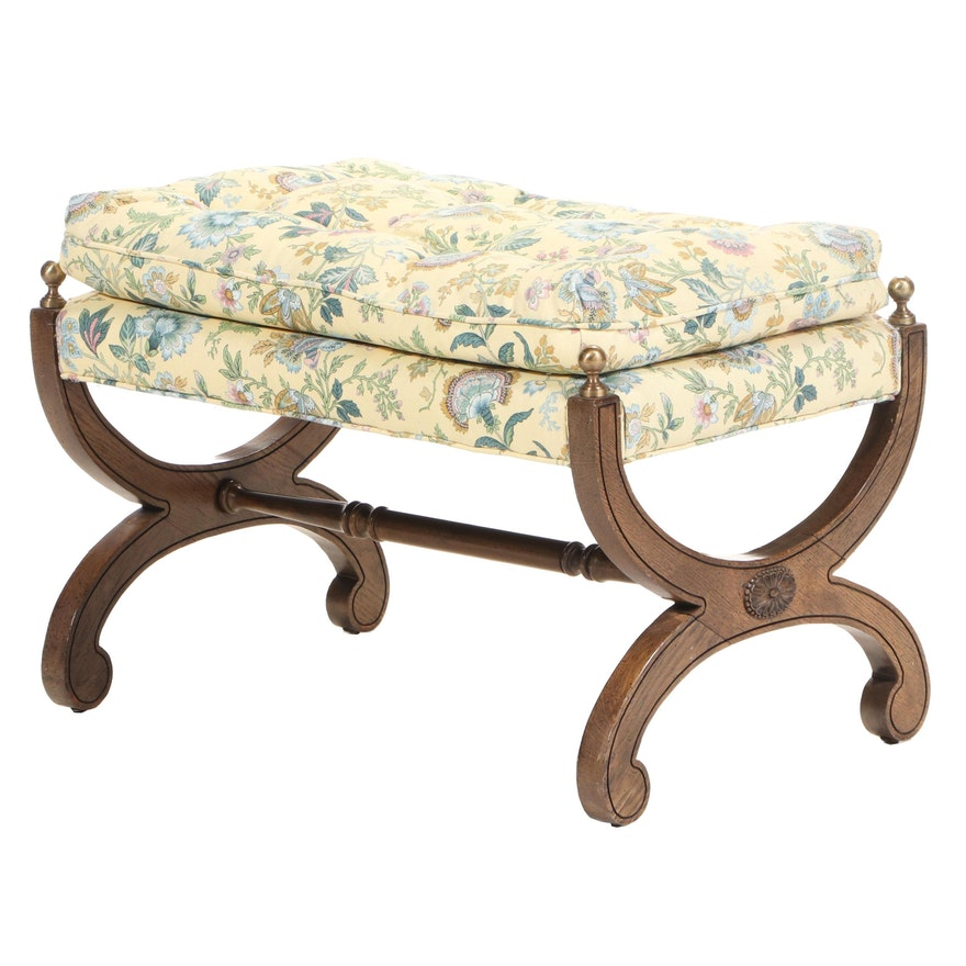 French Empire Style Walnut and Brass Footstool with Upholstered Cushion