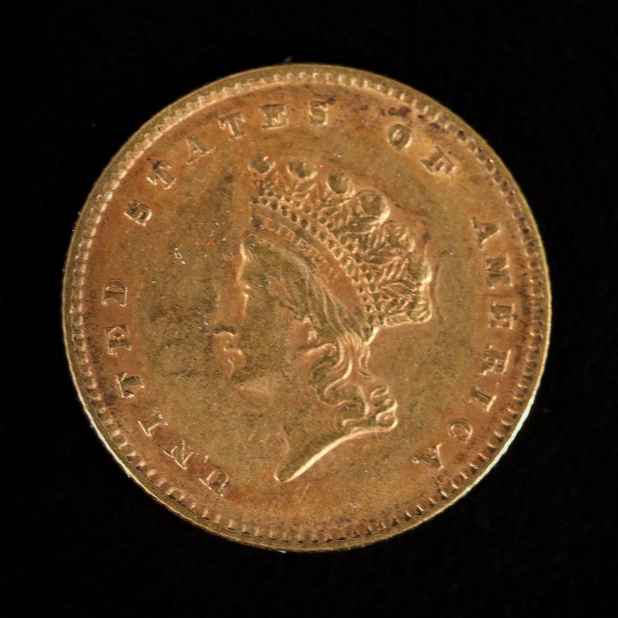 1854 Indian Princess Head Type 2 Gold Dollar