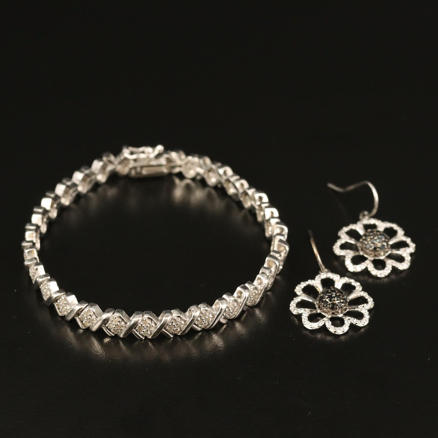 Flower Earrings and Fancy Link Bracelet with Diamond and Cubic Zirconia