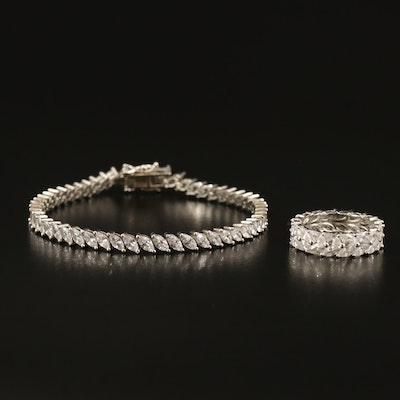 Sterling Cubic Zirconia Double Row Ring and Bracelet
