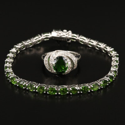 Sterling Diopside and White Sapphire Ring with Link Bracelet