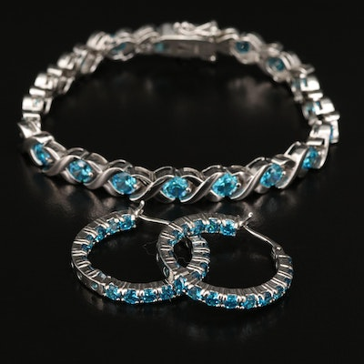 Sterling Blue Cubic Zirconia Link Bracelet and Hoop Earrings