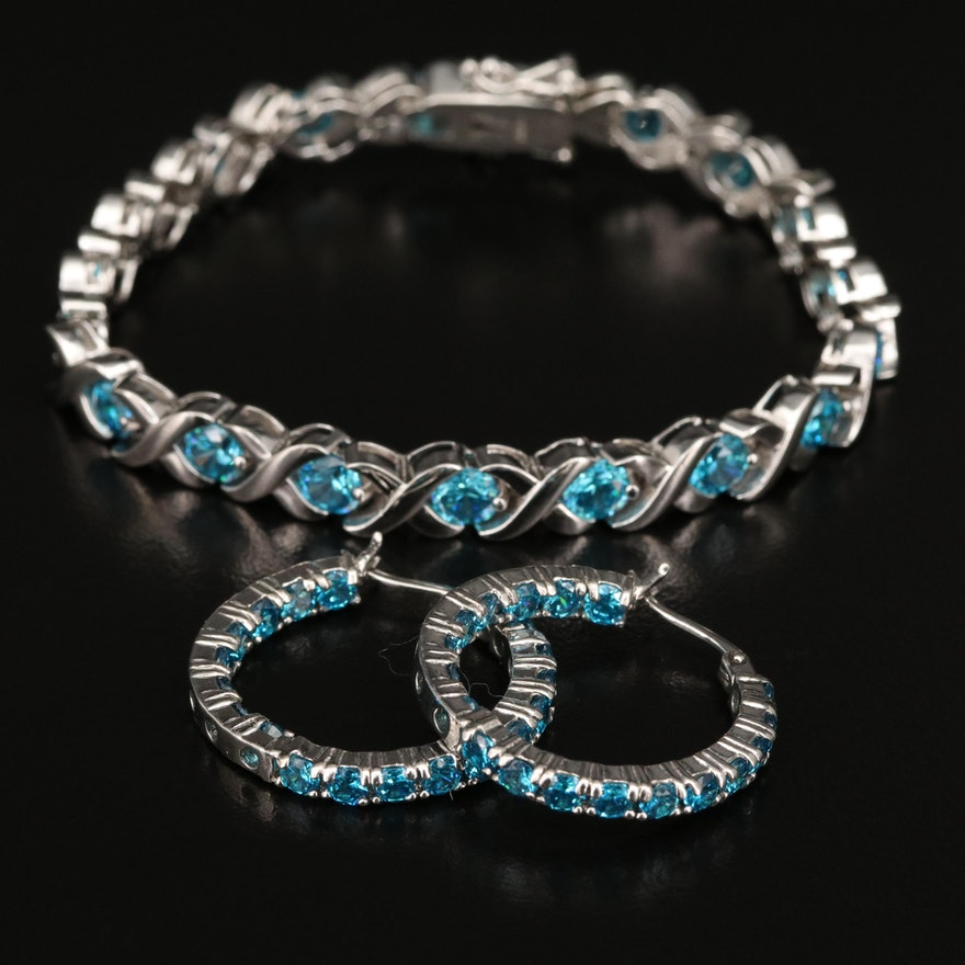 Sterling Blue Cubic Zirconia Link Bracelet and Hoop Earrings