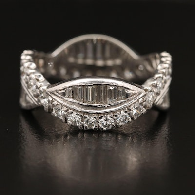 Platinum 1.80 CTW Diamond Crossover Eternity Band