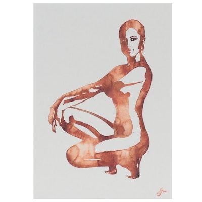 Alyona Glushchenko Figural Watercolor Painting of Female Nude