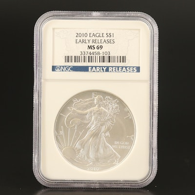 NGC Graded MS69 2010 Early Release .999 Fine American Silver Eagle