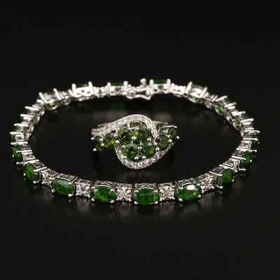 Sterling Ring and Link Bracelet Featuring Diopside, Diamond and Topaz