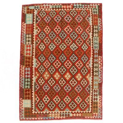 6'10 x 9'10 Handwoven Afghan Kilim Area Rug