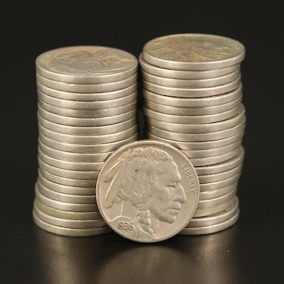 Forty 1936-S Buffalo Nickels with Full Readable Dates