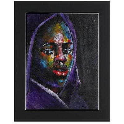 Samson Toba Oladosu Acrylic Portrait Painting, 2020