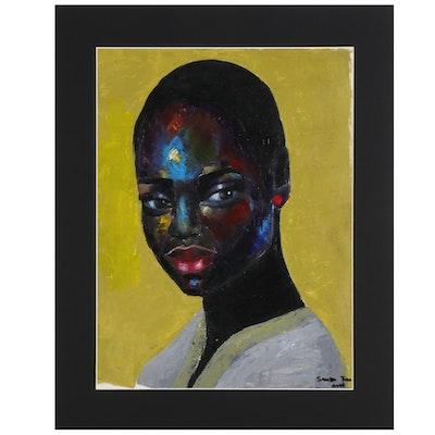 Samson Toba Oladosu Acrylic Portrait Painting of Woman, 2021