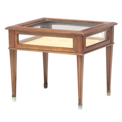 Federal Style Walnut Shadow Box End Table with Velvet Lining, Mid-20th Century