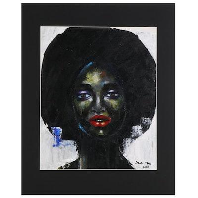 Samson Toba Oladosu Female Portrait Acrylic Painting, 2021