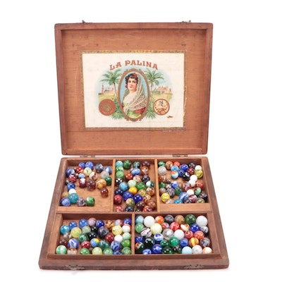 Marble Collection in Divided Wooden Cigar Box