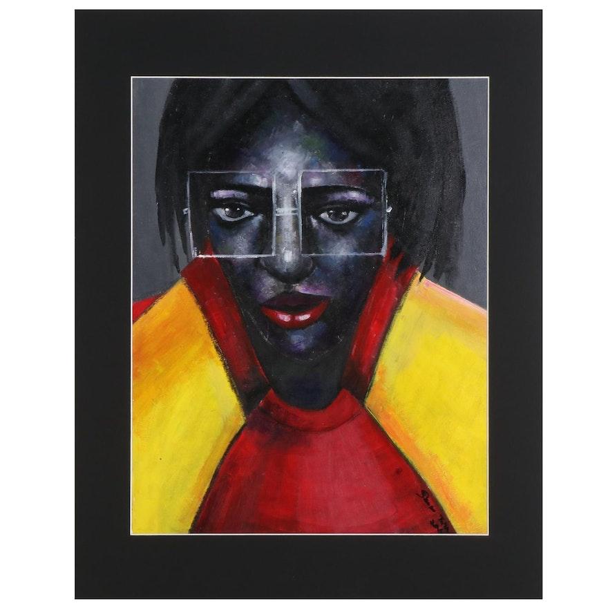 Samson Toba Oladosu Acrylic Painting of Woman in Square Glasses, 2021