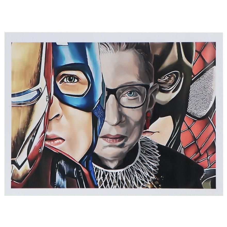 Pop Art Giclée of Ruth Bader Ginsburg and Superheroes