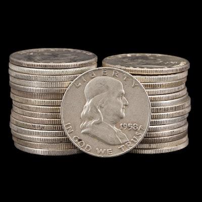 Twenty-Eight Franklin Silver Half Dollars
