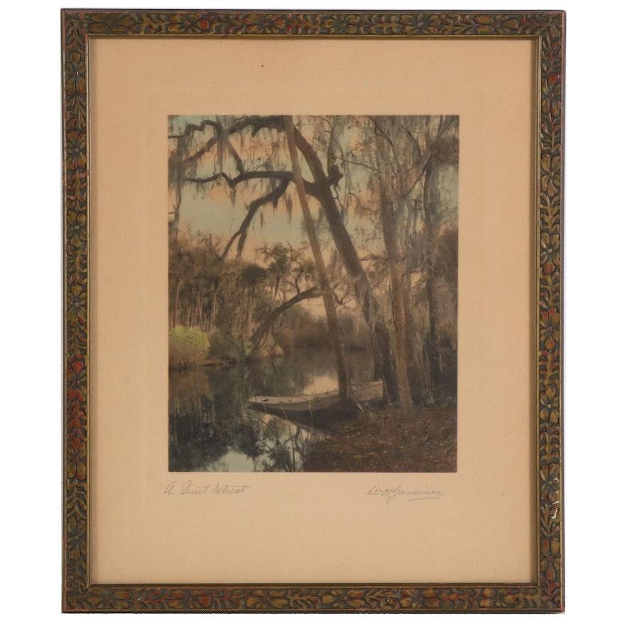 "William H. Gardiner Hand-Colored Photograph ""A Quiet Retreat"""
