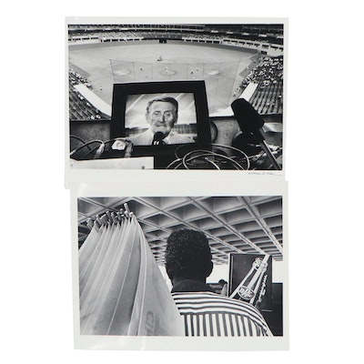 """William D. Wade Silver Gelatin Photographs """"Vin Scully,"""" 1973"""