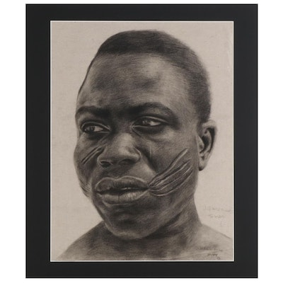 Williams Sunday Portrait Charcoal Drawing of Man with Scarred Cheeks, 2021
