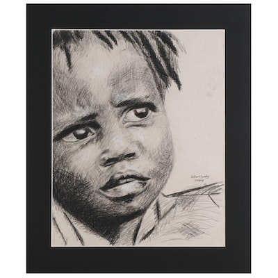 Williams Sunday Charcoal and Conté Drawing of Young Child Portrait, 2021