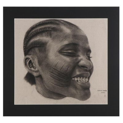 Williams Sunday Portrait Charcoal Drawing of Child with Scarred Cheeks, 2021