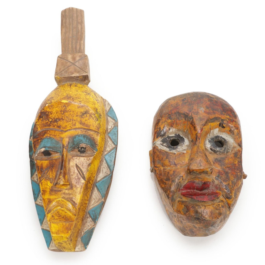 West African Style Wood Polychrome Masks