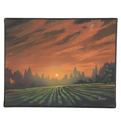 "Douglas ""Bumo"" Johnpeer Oil Painting ""Vineyard Mist,"" 2021"