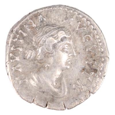 Ancient Roman Imperial AR Denarius of Faustina II, ca. 150 AD