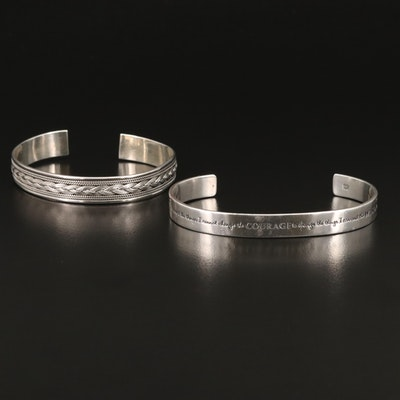 "Laurel Elliot ""Serenity Prayer"" Sterling Cuff with Braided Cuff"