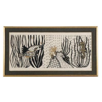 Hand-Embroidered Framed Aquatic Scene