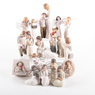 "Demdaco Willow Tree ""Angel of Healing"" and Other Resin Figurines"