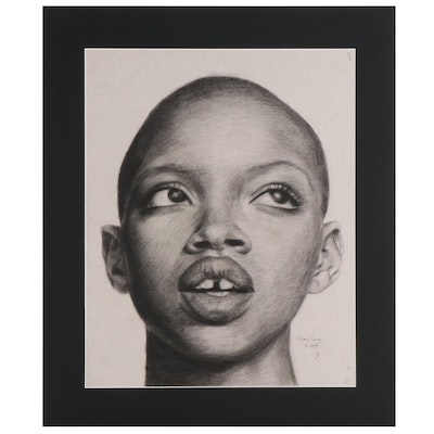 Williams Sunday Charcoal Portrait Drawing of Slick Woods, 2021