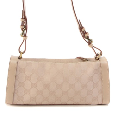 Gucci Shoulder Bag in Beige GG Canvas and Smooth Leather