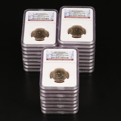 """NGC Graded MS65 2007 """"First Day of Issue"""" George Washington Presidential Dollar"""
