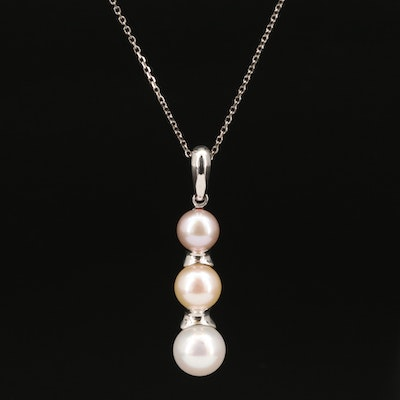 Iridesse Sterling Silver Graduated Pearl Pendant Necklace