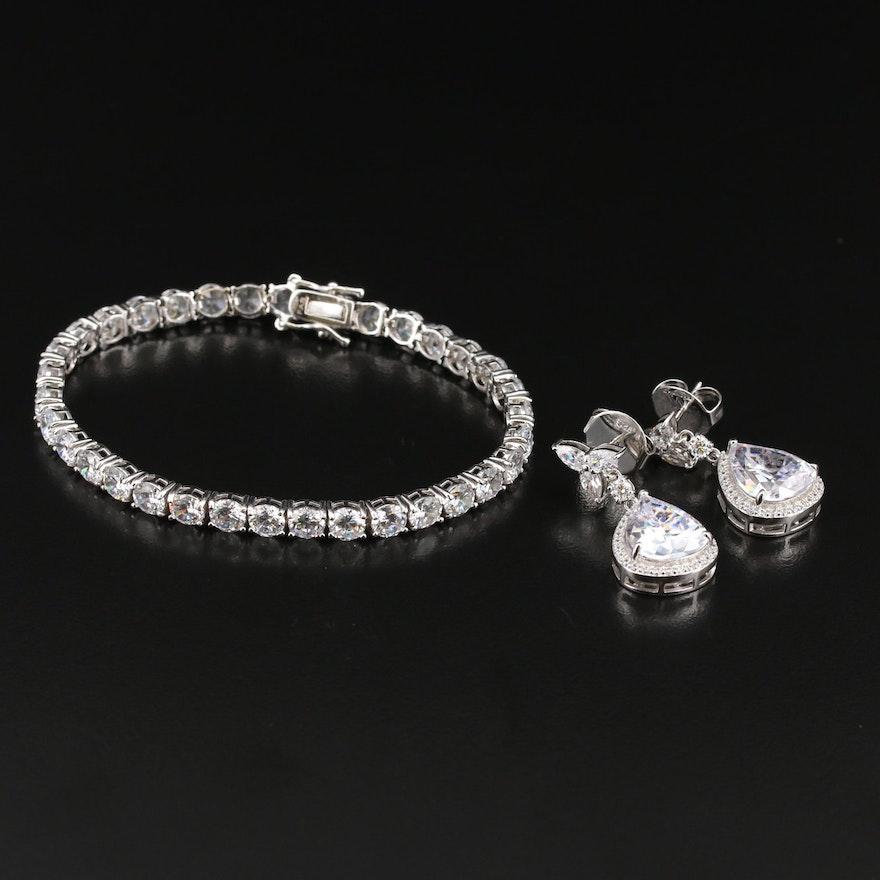 Charles Winston Sterling Cubic Zirconia Teardrop Earrings and Link Bracelet